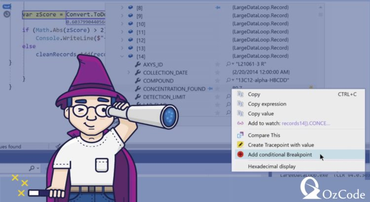 C# debugging conditional breakpoints