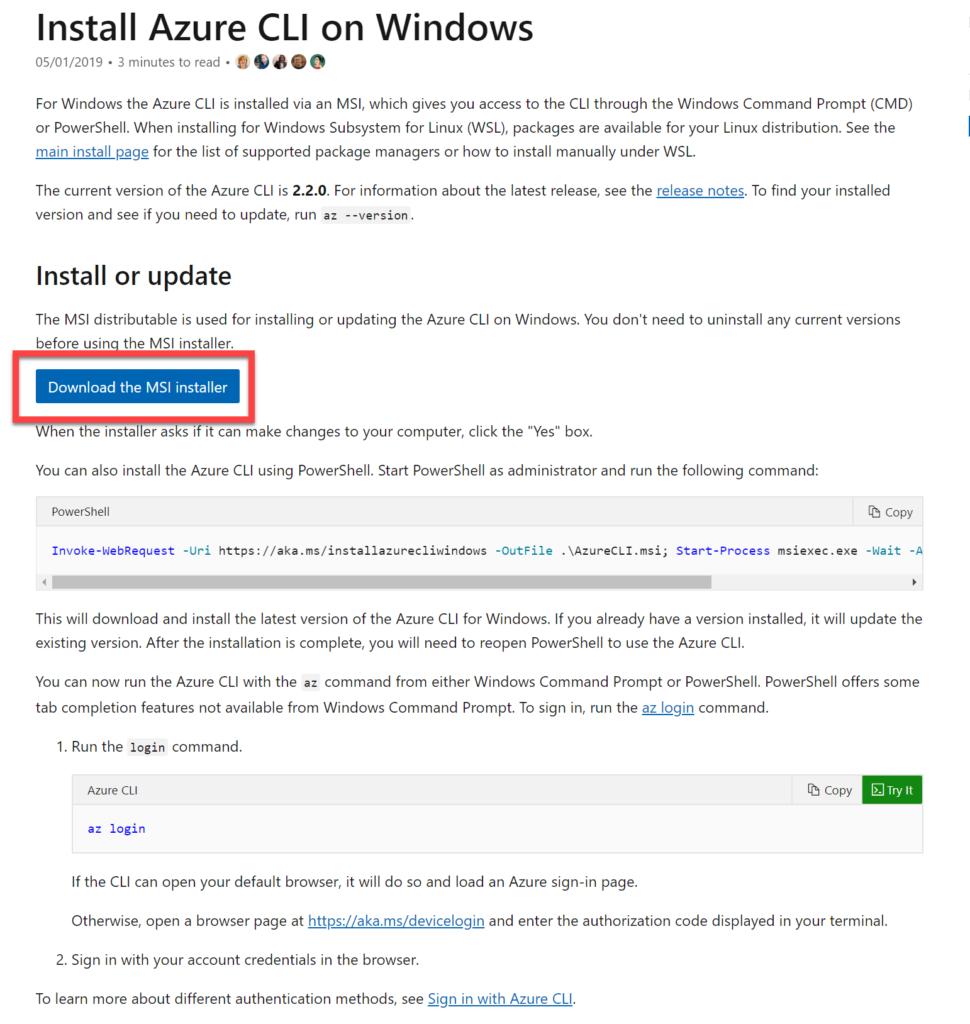 Install Azure CLI on Windows