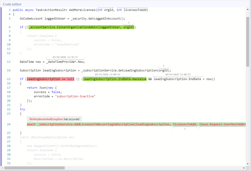 Code editor panel - Ozcode