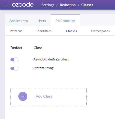 PII redaction by classes - Ozcode