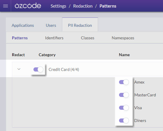 Disabling redaction - Ozcode