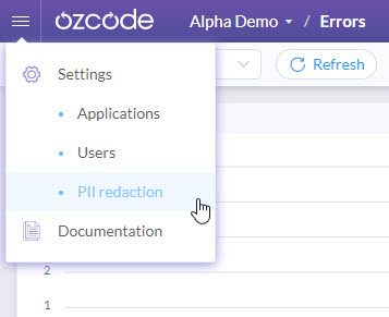 PII Redaction in Settings - Ozcode