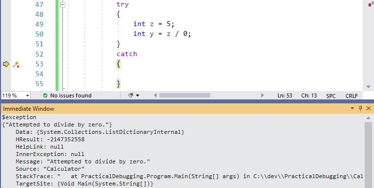 Visual Studio Immediate Window - $exception parameter - Ozcode