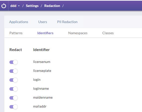 PII redaction - identifiers - Ozcode