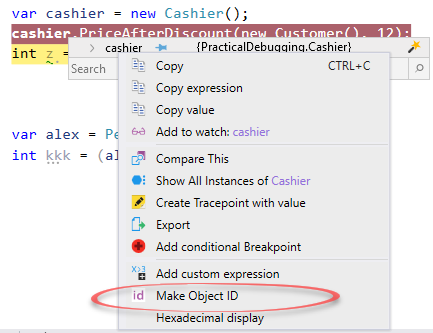 Visual Studio Immediate Window - Make Object ID - Ozcode