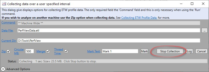 PerfView Stop Collect - Ozcode