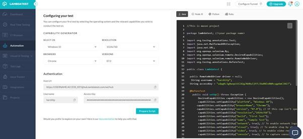 LamdaTest Automation - Ozcode