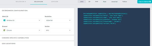LambdaTest Capabilities Generator - Ozcode