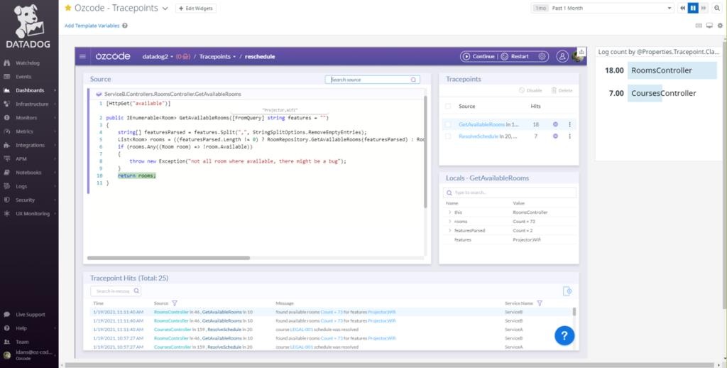 Ozcode tracepoints in Datadog